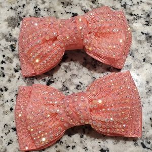SEQUIN BRIGHT PINK GLITTERY HAIR BOW